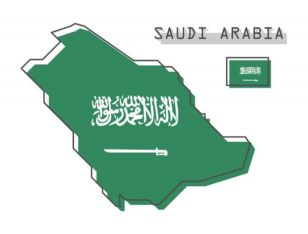Mapa da arábia saudita e bandeira