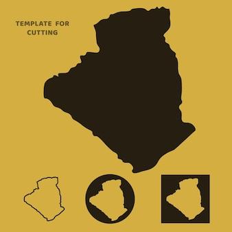 Mapa da argélia modelo para corte a laser, escultura em madeira, corte de papel. silhuetas para corte. estêncil de vetor de mapa da argélia.
