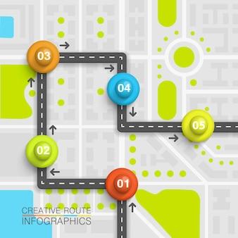 Mapa da arte da informação do ponto da estrada. ilustração vetorial
