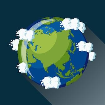Mapa da ásia no planeta terra, vista do espaço. ícone do globo da ásia.