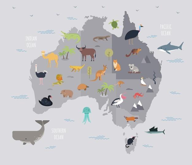 Mapa da austrália com animais bonitos dos desenhos animados que vivem nele. mamíferos engraçados dos desenhos animados, répteis, pássaros que habitam o continente australiano. ilustração vetorial colorida em estilo simples para cartaz educacional.
