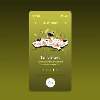 Mapa da austrália com silhuetas de jerboa fugindo de animais ameaçados de extinção morrendo em incêndio, conceito de desastre natural chamas intensas laranja tela smartphone app móvel