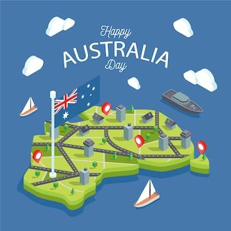 Mapa da austrália rodeado por oceanos