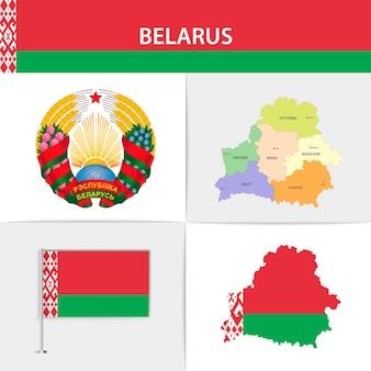 Mapa da bandeira da bielo-rússia e brasão de armas