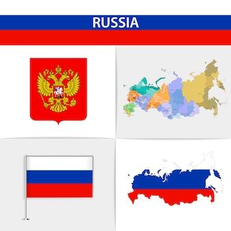 Mapa da bandeira da rússia e brasão de armas