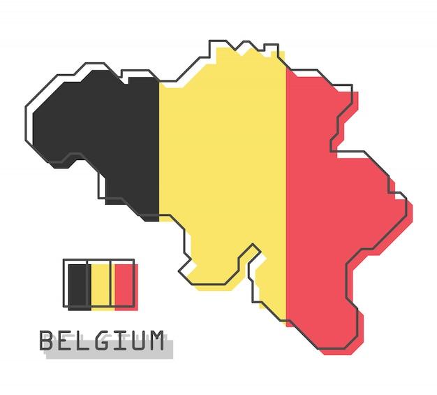 Mapa da bélgica e bandeira