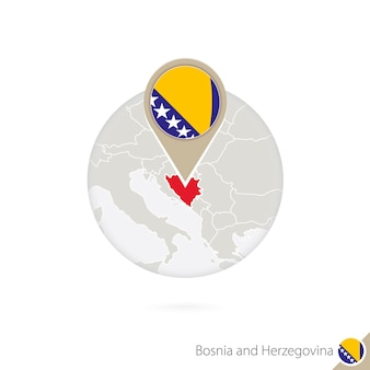Mapa da bósnia e herzegovina e bandeira em círculo. mapa da bósnia e herzegovina, pino de bandeira da bósnia e herzegovina. mapa da bósnia e herzegovina no estilo do globo. ilustração vetorial.