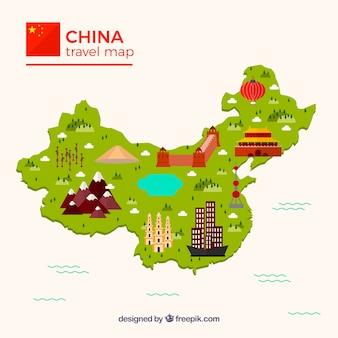 Mapa da china com monumentos