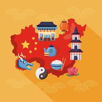 Mapa da china e conjunto de ícones
