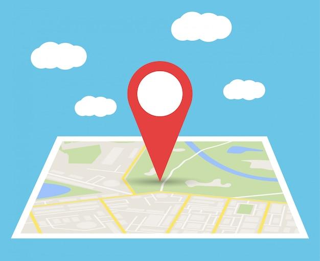 Mapa da cidade com marcador, ícone de vetor