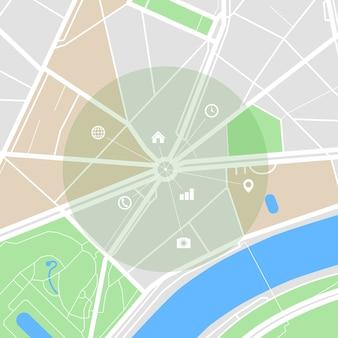 Mapa da cidade com ruas