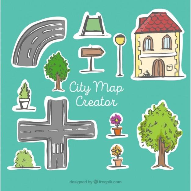 Mapa da cidade criador, desenhado mão