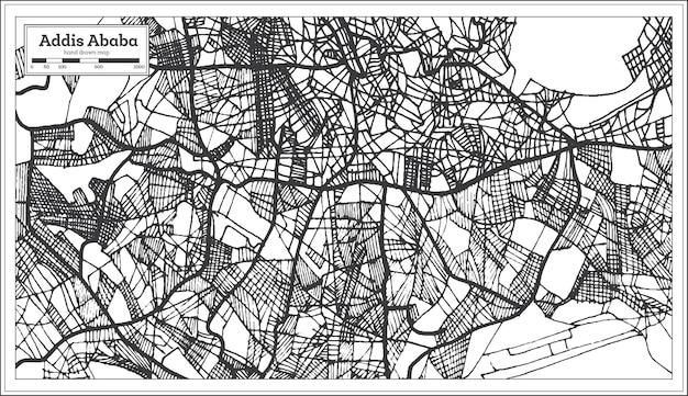 Mapa da cidade da etiópia de addis abeba em estilo retro. mapa de contorno. ilustração vetorial.