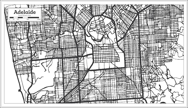 Mapa da cidade de adelaide austrália em preto e branco