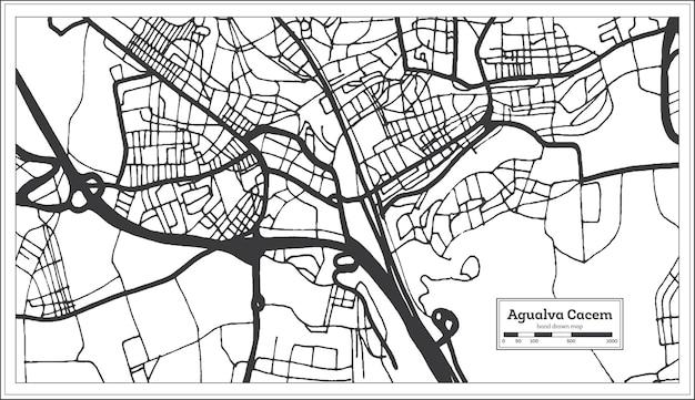 Mapa da cidade de agualva cacem portugal em estilo retro