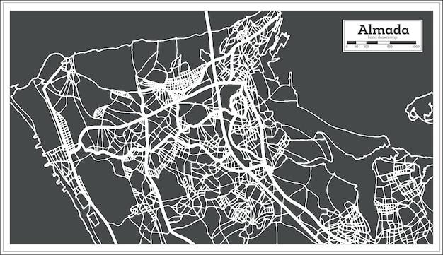 Mapa da cidade de almada portugal em estilo retro. mapa de contorno. ilustração vetorial.