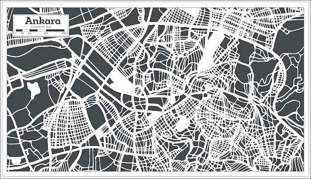 Mapa da cidade de ancara turquia em estilo retro