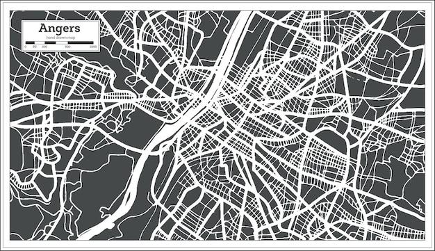 Mapa da cidade de angers france em estilo retro