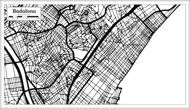 Mapa da cidade de badalona espanha em estilo retro. mapa de contorno. ilustração vetorial.