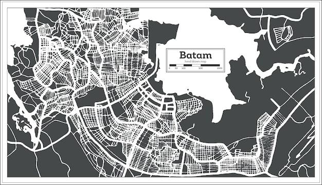 Mapa da cidade de batam indonésia em estilo retro. mapa de contorno. ilustração vetorial.
