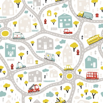 Mapa da cidade de bebê com estradas e transportes. padrão sem emenda de vetor. ilustração dos desenhos animados em estilo escandinavo infantil desenhado à mão.