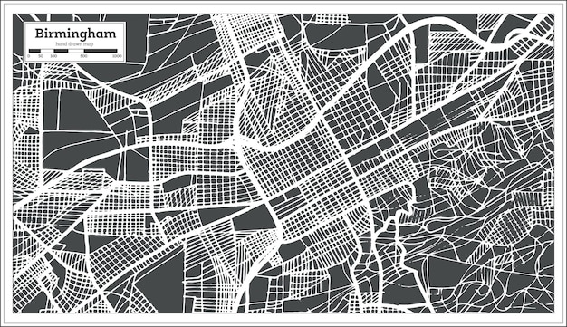Mapa da cidade de birmingham alabama eua em estilo retro. mapa de contorno. ilustração vetorial.