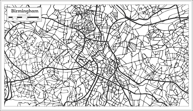 Mapa da cidade de birmingham uk em estilo retro. mapa de contorno. ilustração vetorial.