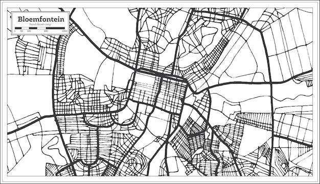 Mapa da cidade de bloemfontein áfrica do sul em estilo retro. mapa de contorno. ilustração vetorial.