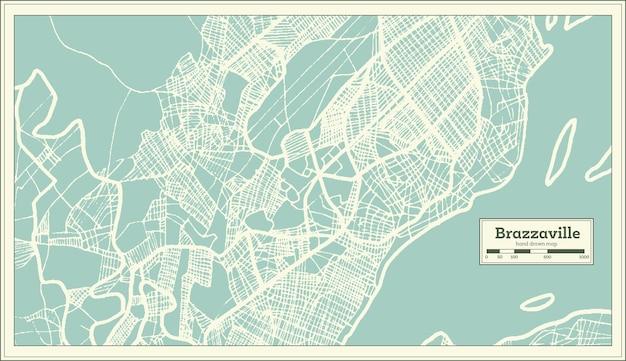 Mapa da cidade de brazzaville congo em estilo retro. mapa de contorno. ilustração vetorial.