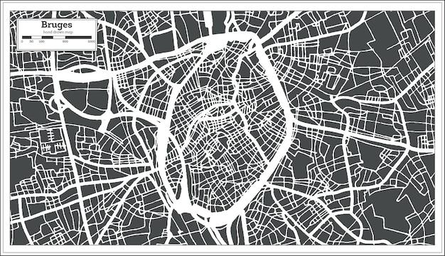 Mapa da cidade de bruges em estilo retro