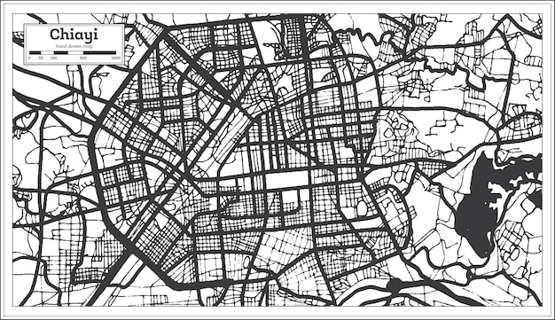 Mapa da cidade de chiayi taiwan em preto e branco