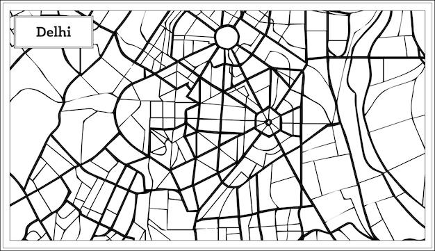 Mapa da cidade de delhi india na cor preto e branco. ilustração vetorial. mapa de contorno.