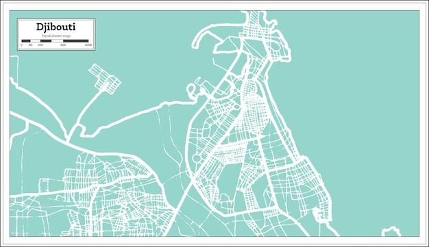Mapa da cidade de djibouti em estilo retro. mapa de contorno. ilustração vetorial.