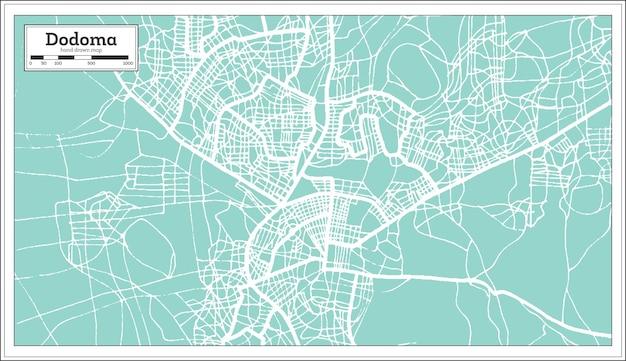 Mapa da cidade de dodoma tanzânia em estilo retro. mapa de contorno. ilustração vetorial.