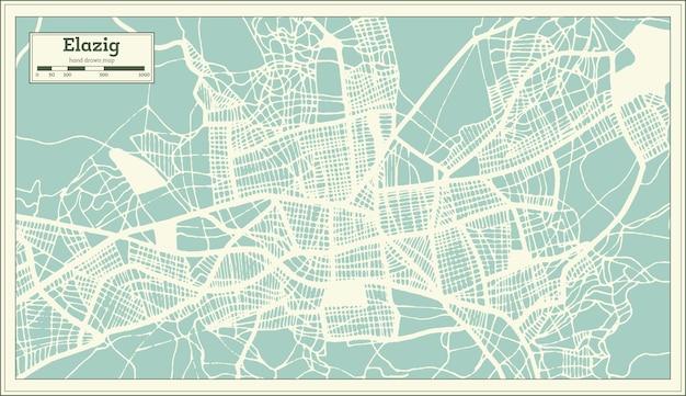 Mapa da cidade de elazig turquia em estilo retro