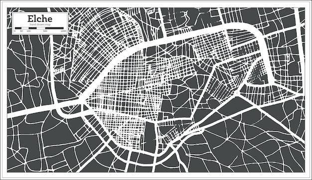 Mapa da cidade de elche espanha em estilo retro. mapa de contorno. ilustração vetorial.