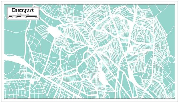 Mapa da cidade de esenyurt turquia em estilo retro
