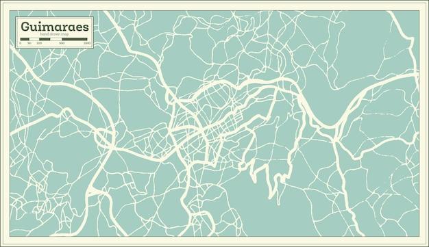 Mapa da cidade de guimarães portugal em estilo retro. mapa de contorno. ilustração vetorial.