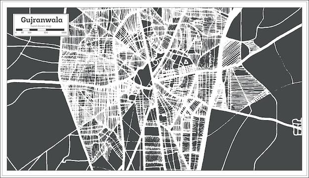 Mapa da cidade de gujranwala paquistão em estilo retro. mapa de contorno. ilustração vetorial.
