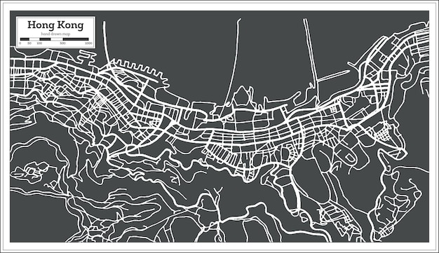 Mapa da cidade de hong hong china em estilo retro. ilustração vetorial. mapa de contorno.