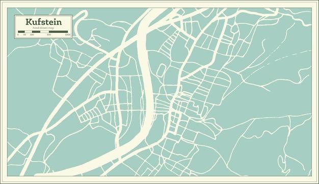 Mapa da cidade de kufstein áustria em estilo retro