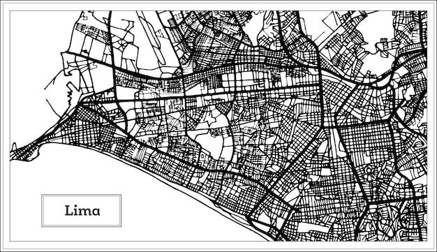 Mapa da cidade de lima peru em preto e branco