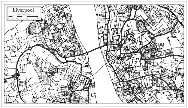 Mapa da cidade de liverpool inglaterra em estilo retro. mapa de contorno. ilustração vetorial.