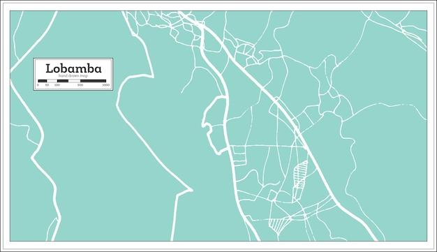 Mapa da cidade de lobamba suazilândia em estilo retro. mapa de contorno. ilustração vetorial.