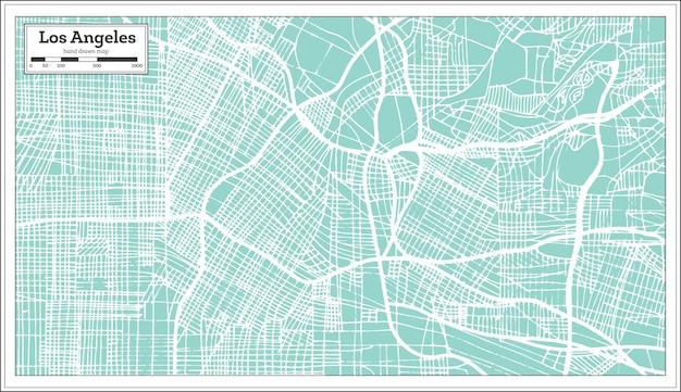 Mapa da cidade de los angeles califórnia eua em estilo retro. mapa de contorno.