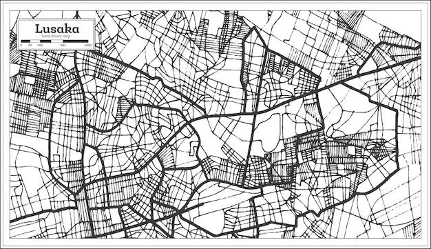 Mapa da cidade de lusaka zâmbia em estilo retro