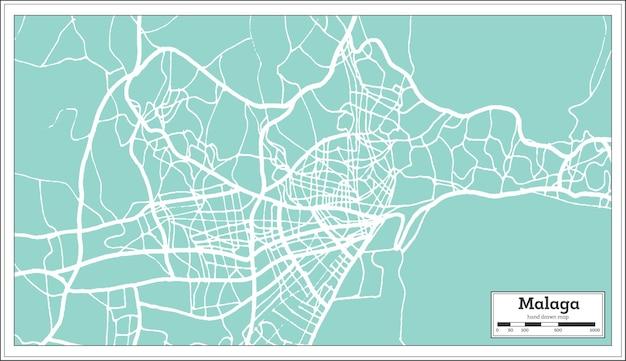 Mapa da cidade de málaga espanha em estilo retro