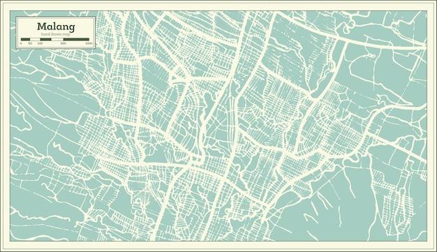 Mapa da cidade de malang indonésia em estilo retro