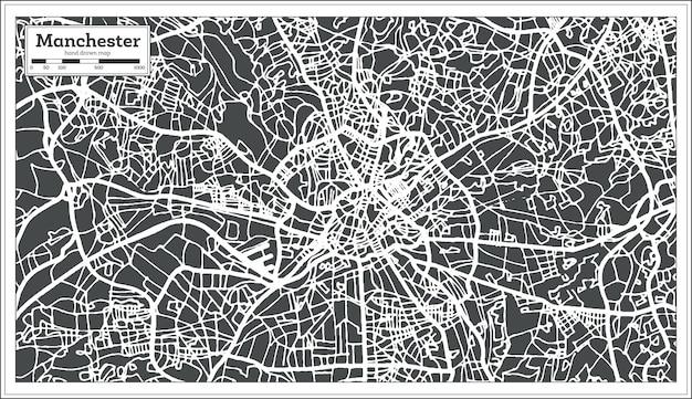 Mapa da cidade de manchester england em estilo retro. mapa de contorno. ilustração vetorial.