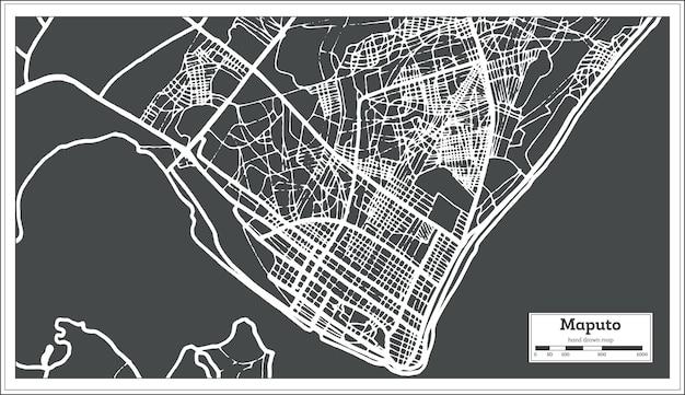 Mapa da cidade de maputo moçambique em estilo retro. mapa de contorno. ilustração vetorial.